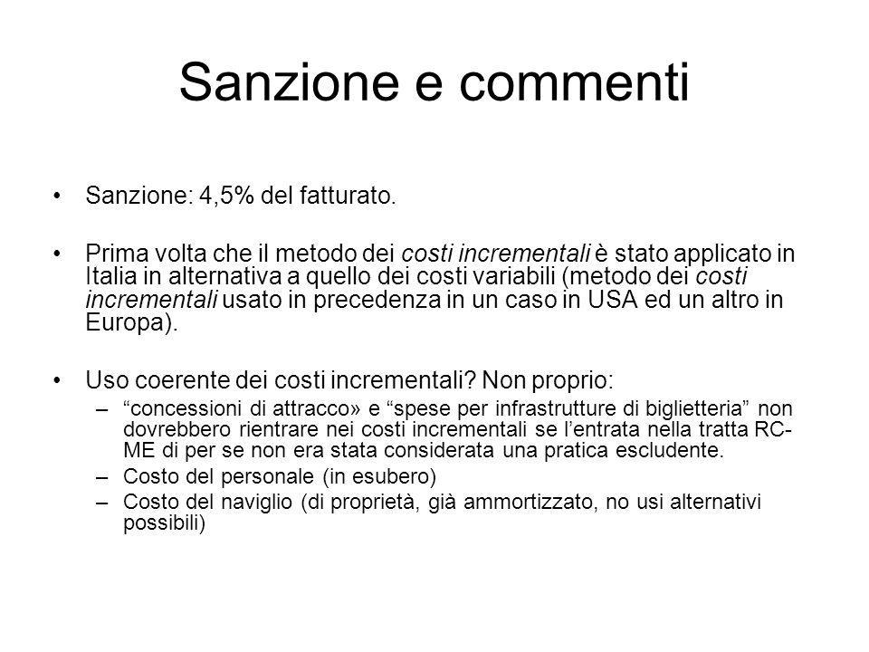 Sanzione e commenti Sanzione: 4,5% del fatturato.