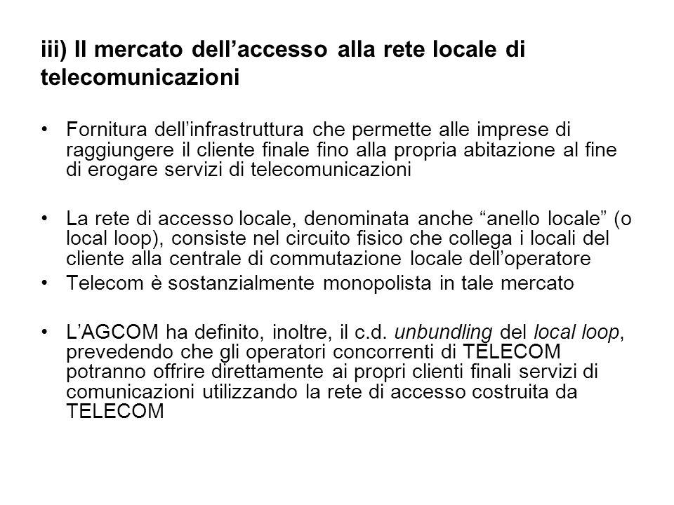 iii) Il mercato dell'accesso alla rete locale di telecomunicazioni