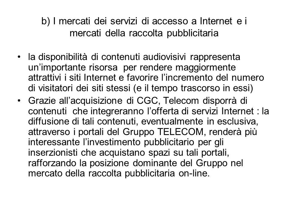 b) I mercati dei servizi di accesso a Internet e i mercati della raccolta pubblicitaria