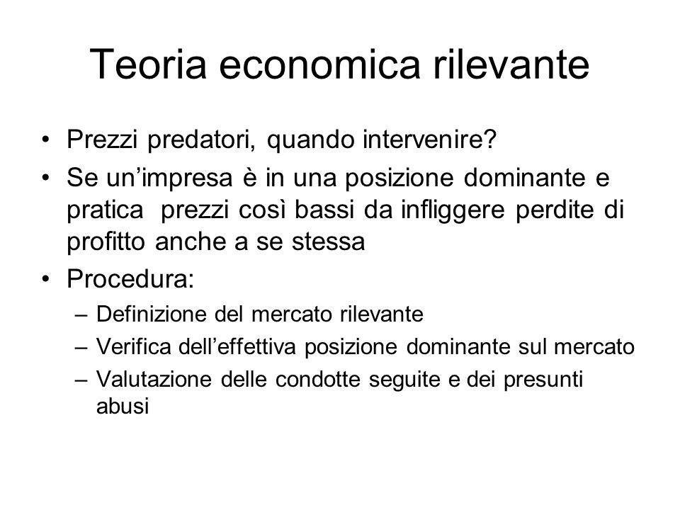Teoria economica rilevante