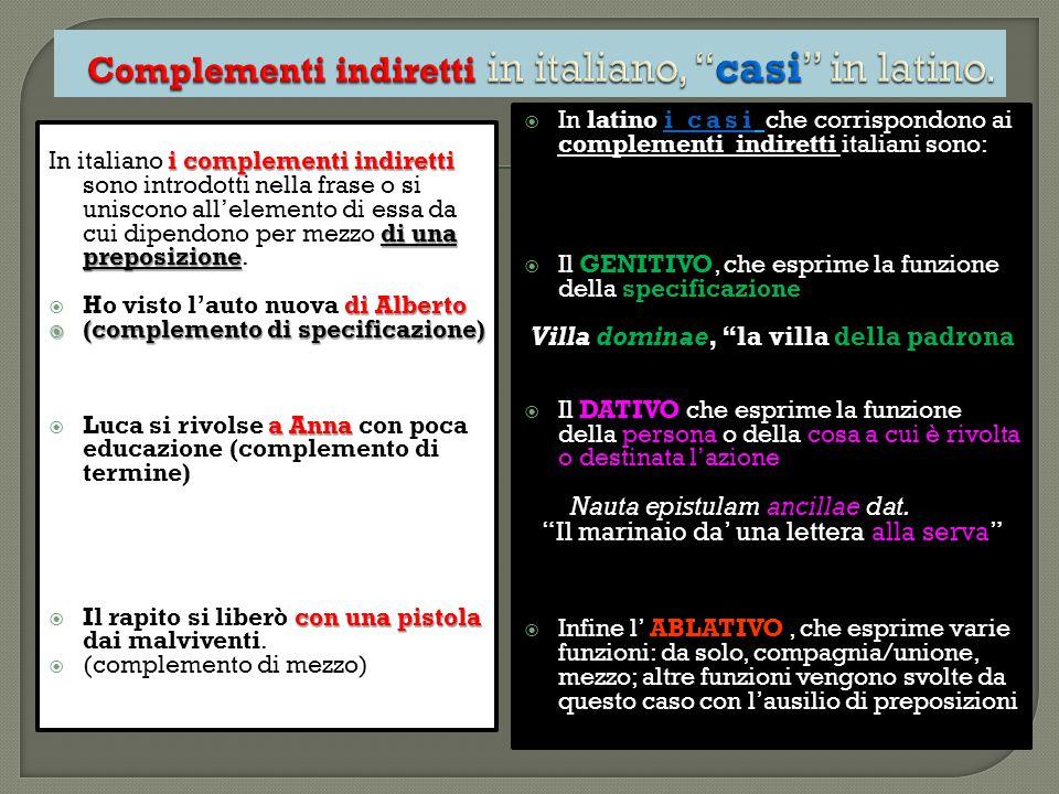 Complementi indiretti in italiano, casi in latino.