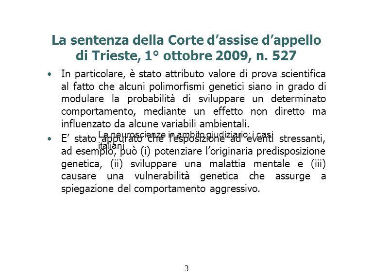 La sentenza della Corte d'assise d'appello di Trieste, 1° ottobre 2009, n. 527