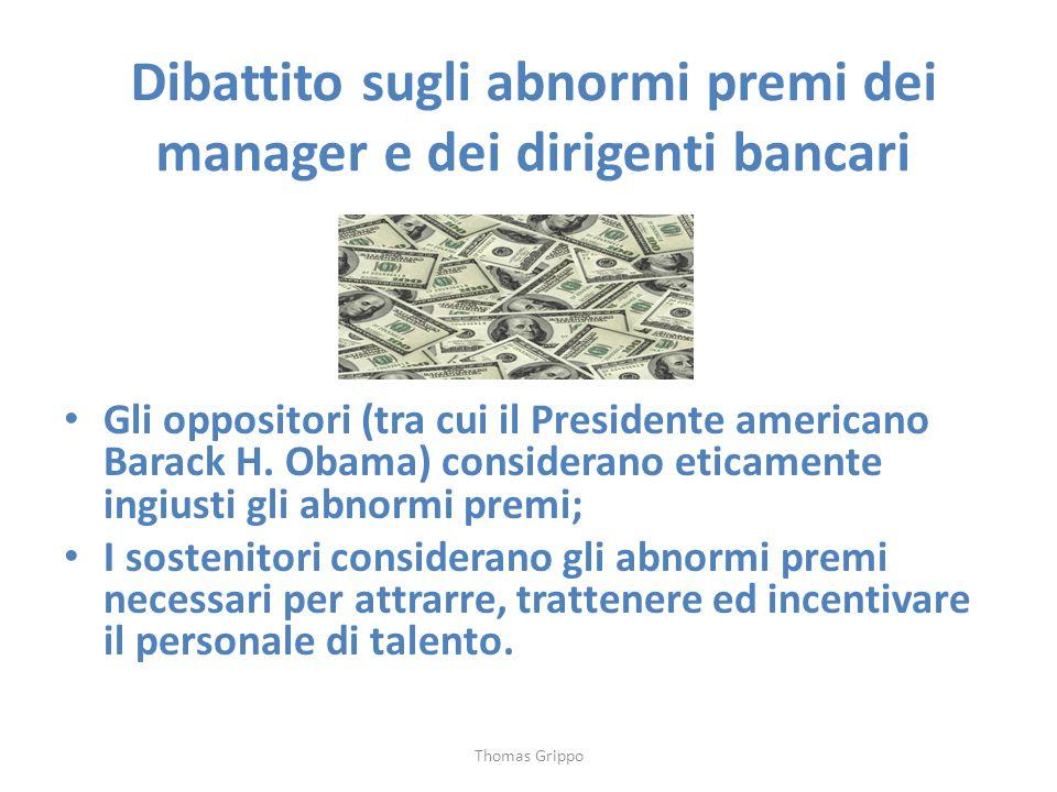 Dibattito sugli abnormi premi dei manager e dei dirigenti bancari