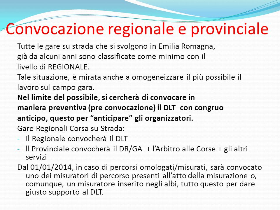 Convocazione regionale e provinciale