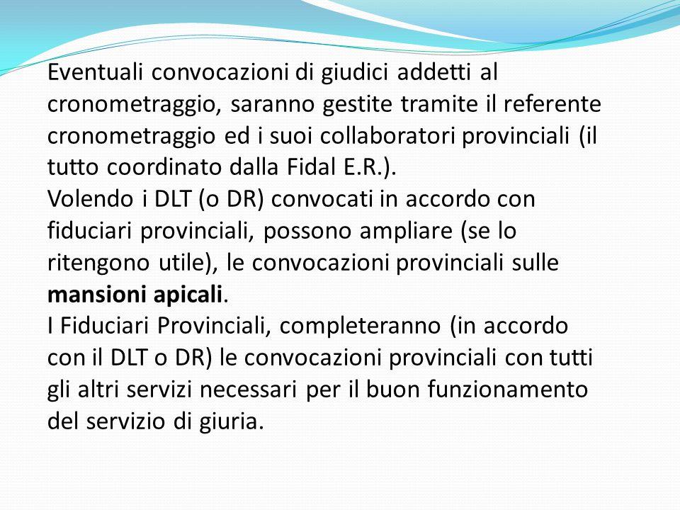 Eventuali convocazioni di giudici addetti al cronometraggio, saranno gestite tramite il referente cronometraggio ed i suoi collaboratori provinciali (il tutto coordinato dalla Fidal E.R.).