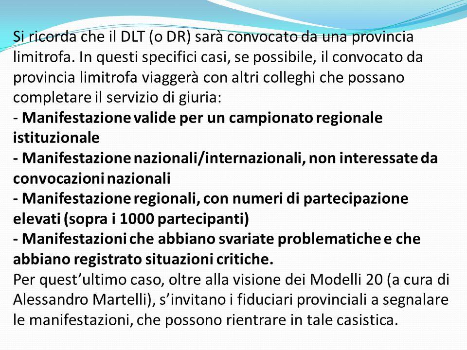 Si ricorda che il DLT (o DR) sarà convocato da una provincia limitrofa