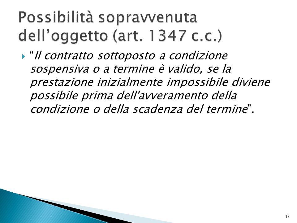 Possibilità sopravvenuta dell'oggetto (art. 1347 c.c.)