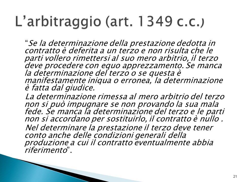 L'arbitraggio (art. 1349 c.c.)
