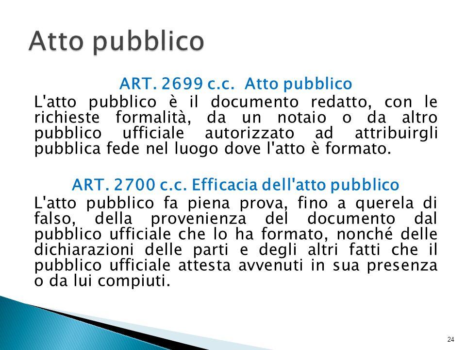 ART. 2700 c.c. Efficacia dell atto pubblico