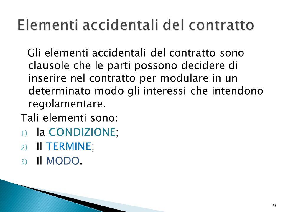 Elementi accidentali del contratto