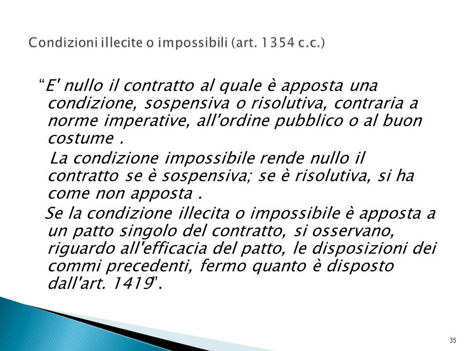 Condizioni illecite o impossibili (art. 1354 c.c.)