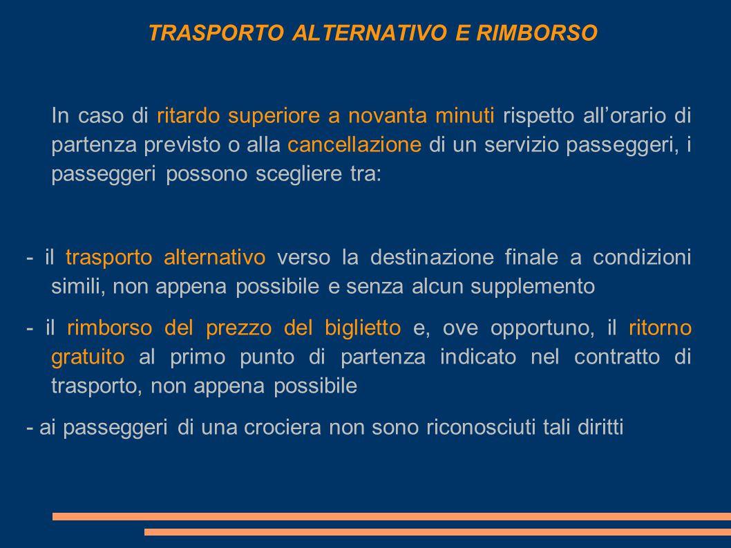 TRASPORTO ALTERNATIVO E RIMBORSO