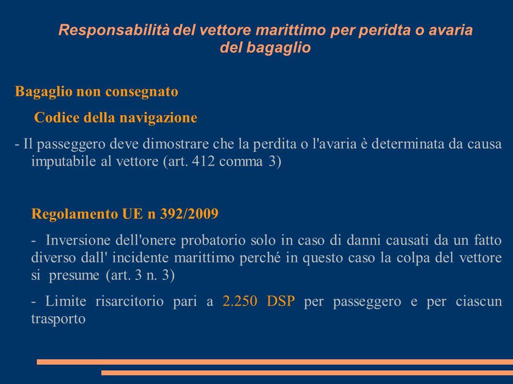 Responsabilità del vettore marittimo per peridta o avaria del bagaglio