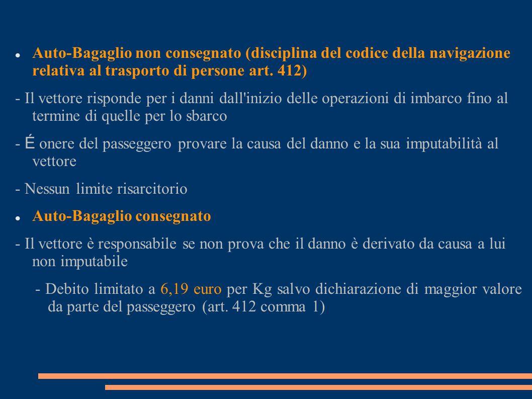 Auto-Bagaglio non consegnato (disciplina del codice della navigazione relativa al trasporto di persone art. 412)