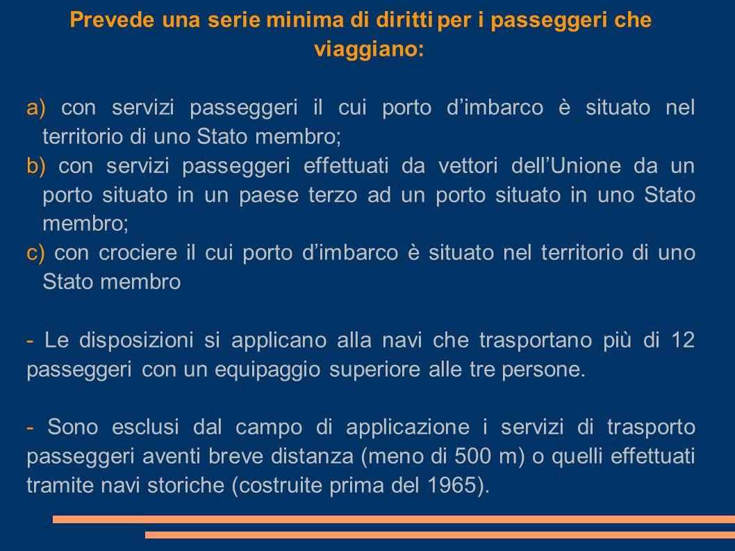 Prevede una serie minima di diritti per i passeggeri che viaggiano: