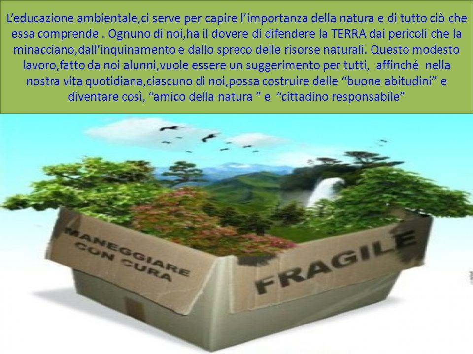 L'educazione ambientale,ci serve per capire l'importanza della natura e di tutto ciò che essa comprende .