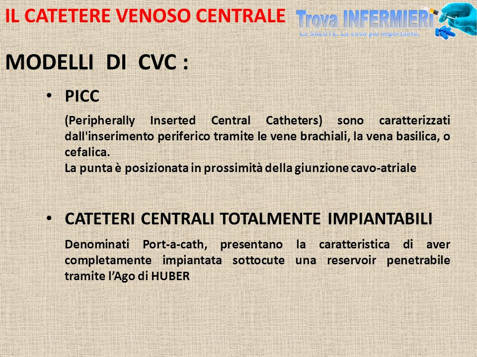 MODELLI DI CVC : IL CATETERE VENOSO CENTRALE PICC