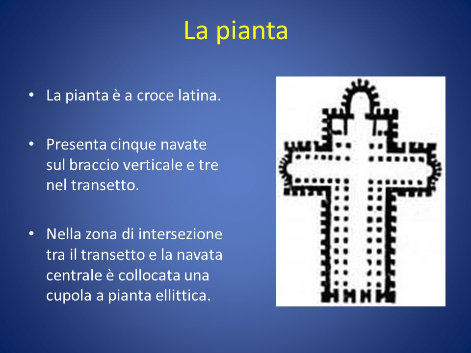 La pianta La pianta è a croce latina.