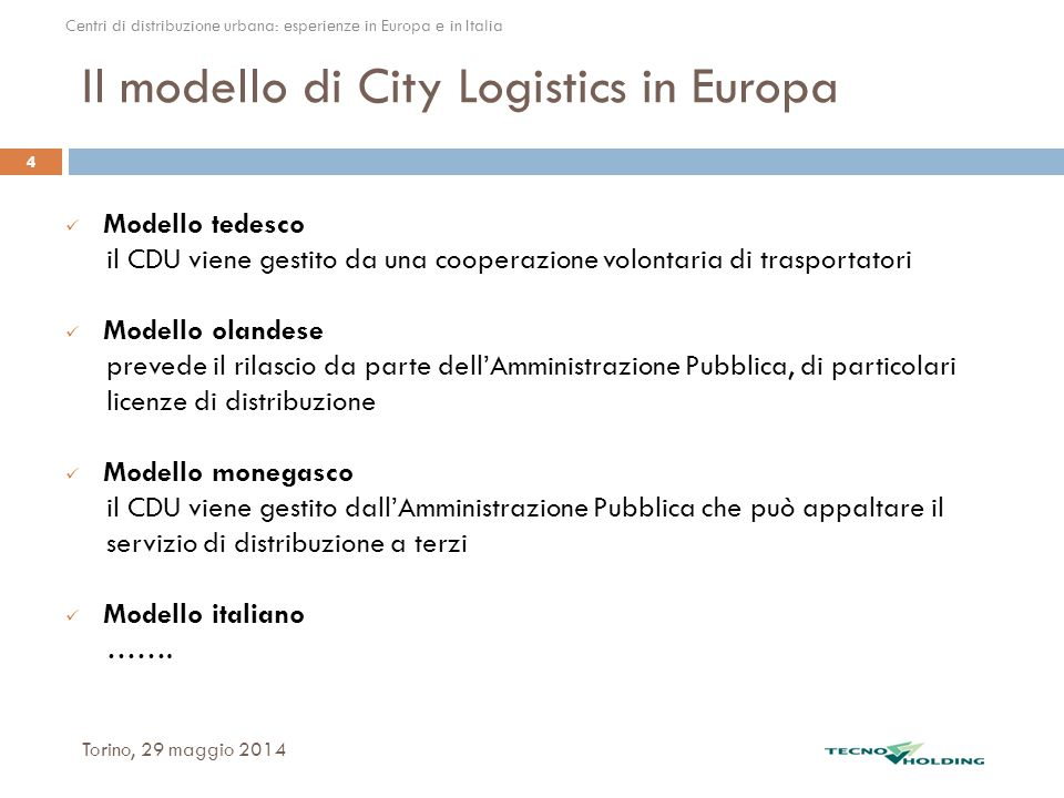 Il modello di City Logistics in Europa
