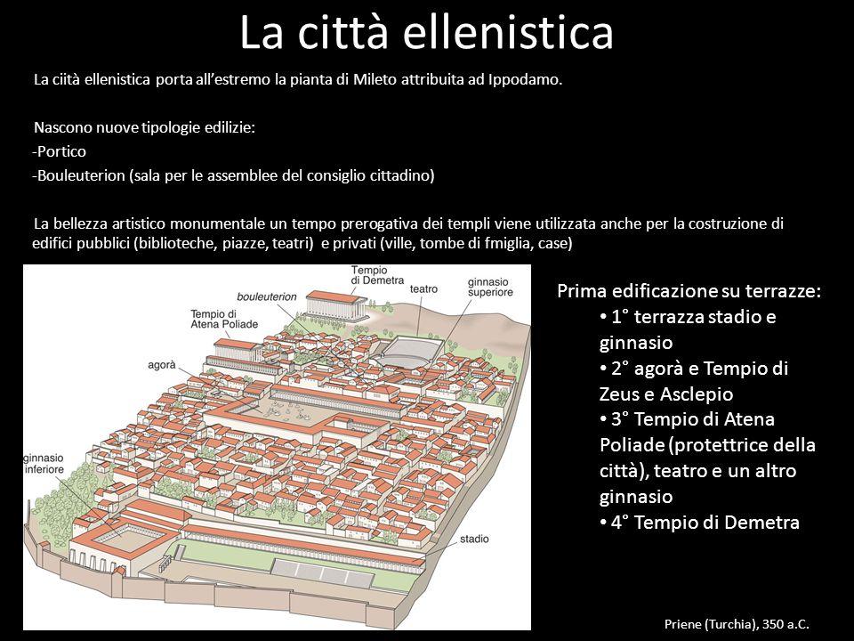 La città ellenistica Prima edificazione su terrazze: