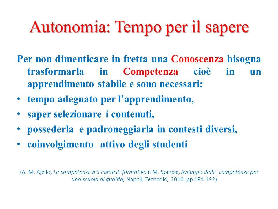 Autonomia: Tempo per il sapere