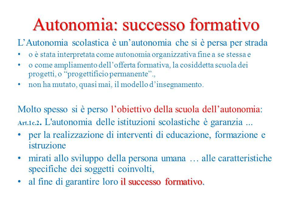 Autonomia: successo formativo