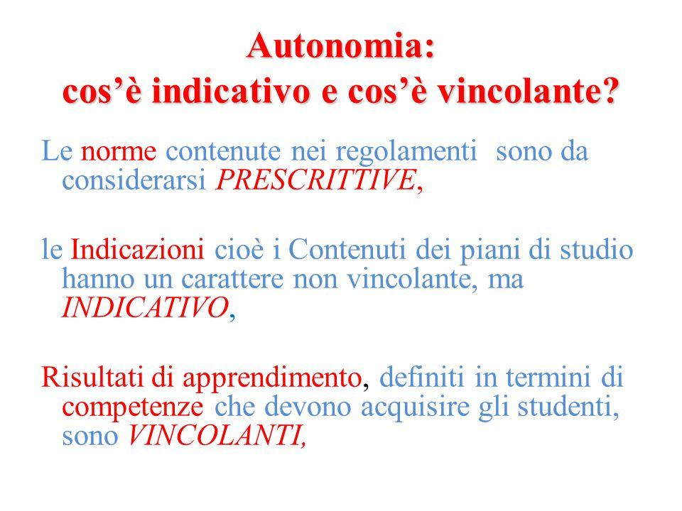 Autonomia: cos'è indicativo e cos'è vincolante