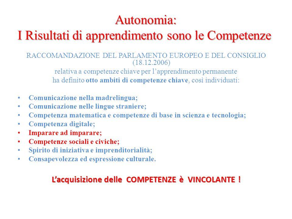 Autonomia: I Risultati di apprendimento sono le Competenze