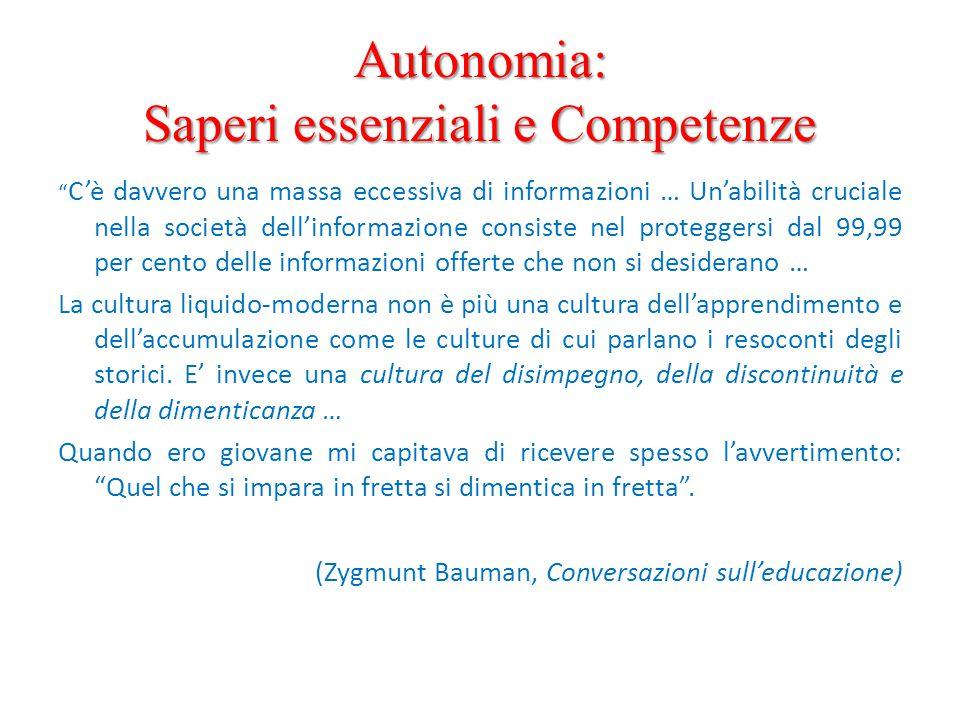 Autonomia: Saperi essenziali e Competenze