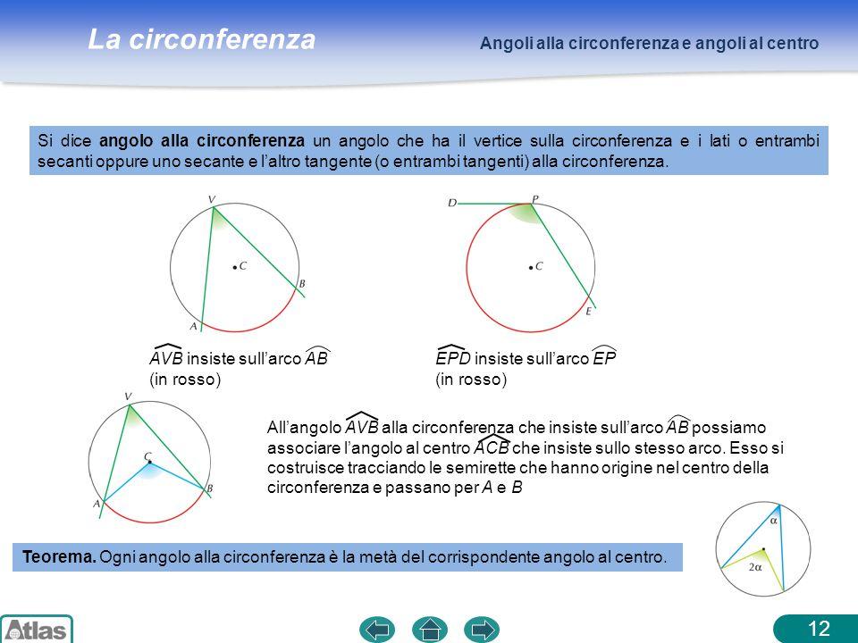 12 Angoli alla circonferenza e angoli al centro