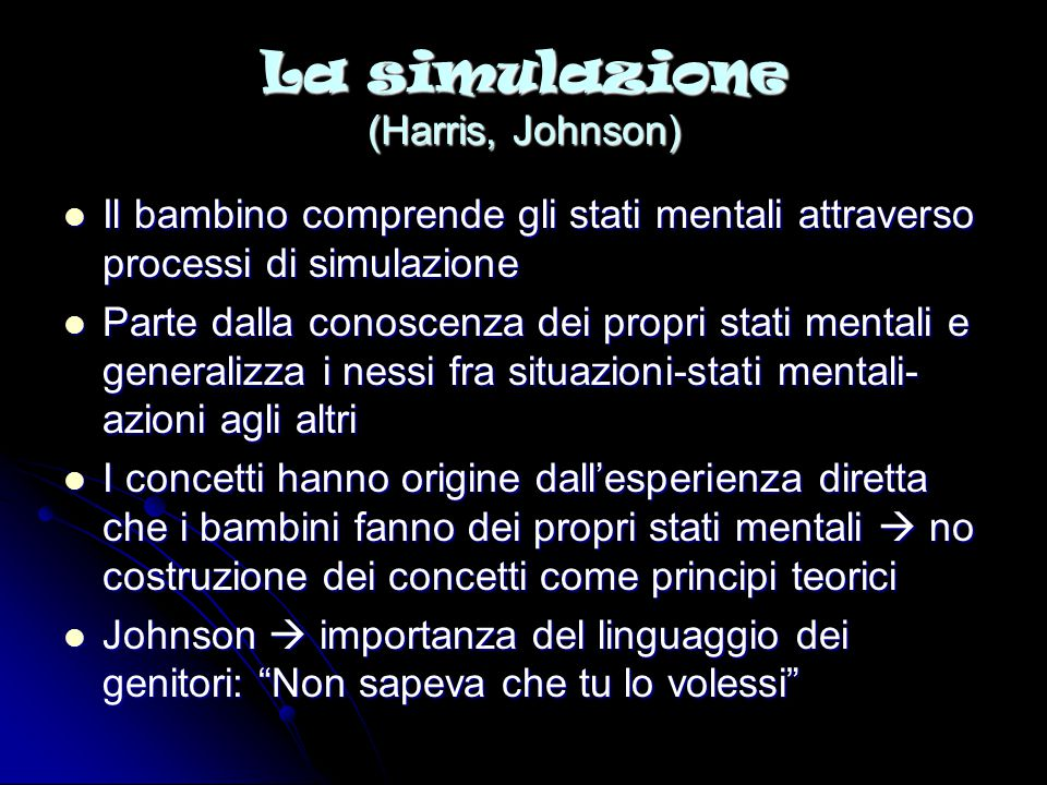 La simulazione (Harris, Johnson)