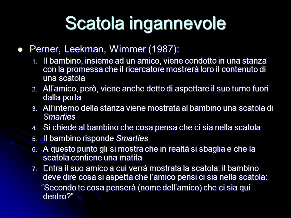 Scatola ingannevole Perner, Leekman, Wimmer (1987):