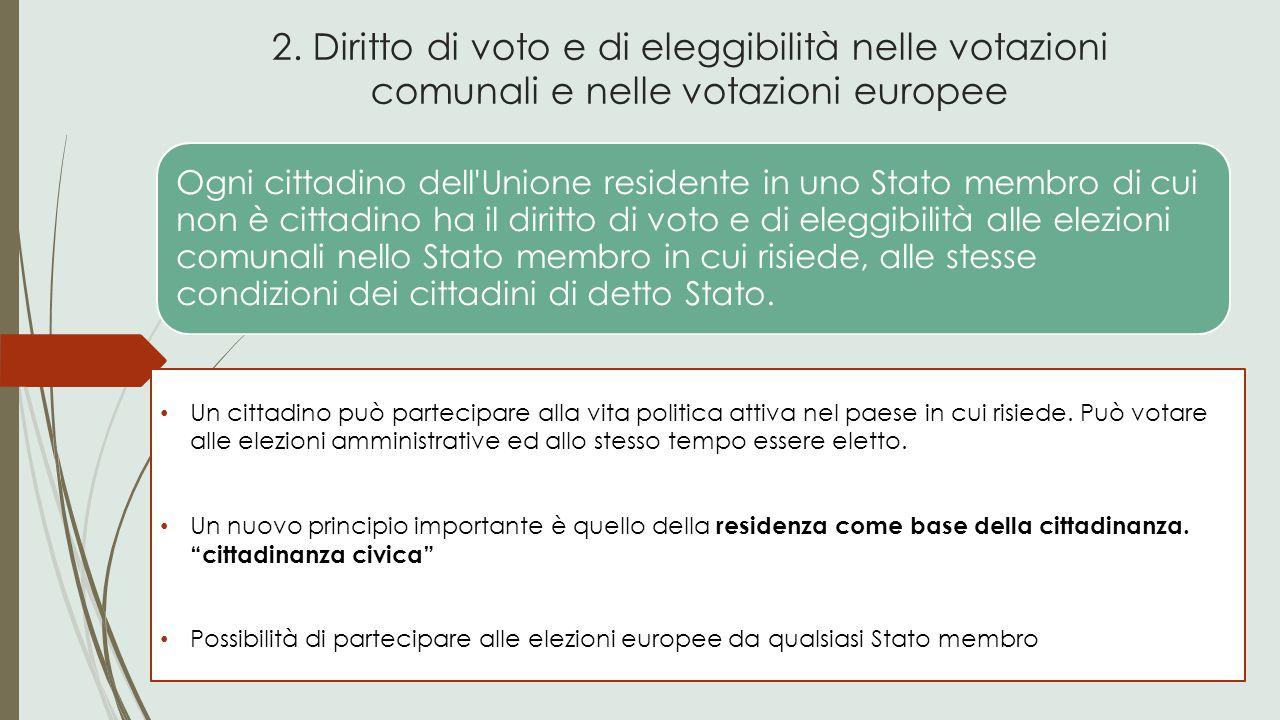 2. Diritto di voto e di eleggibilità nelle votazioni comunali e nelle votazioni europee