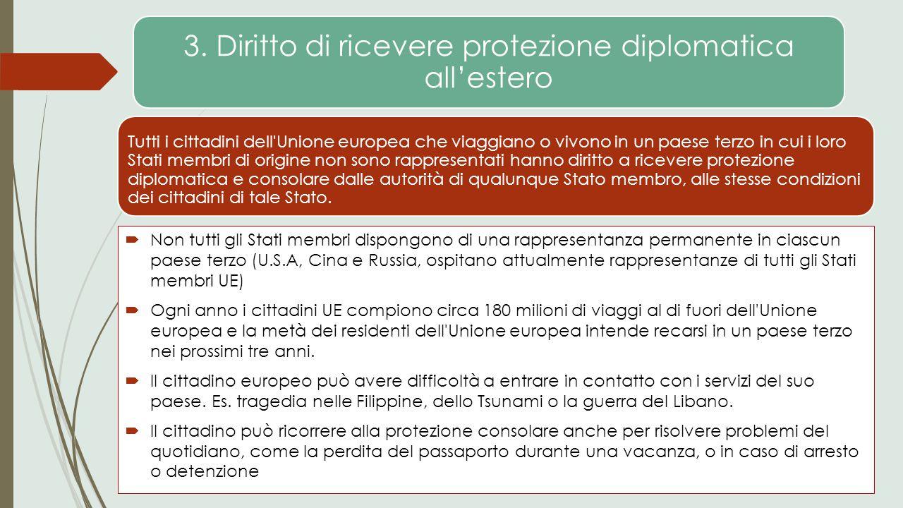 3. Diritto di ricevere protezione diplomatica all'estero