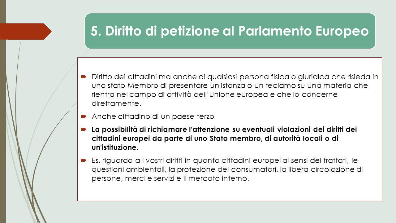 5. Diritto di petizione al Parlamento Europeo