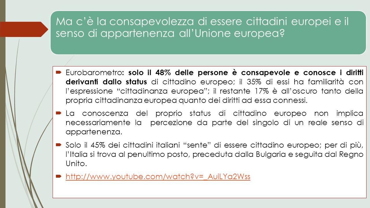 Ma c'è la consapevolezza di essere cittadini europei e il senso di appartenenza all'Unione europea