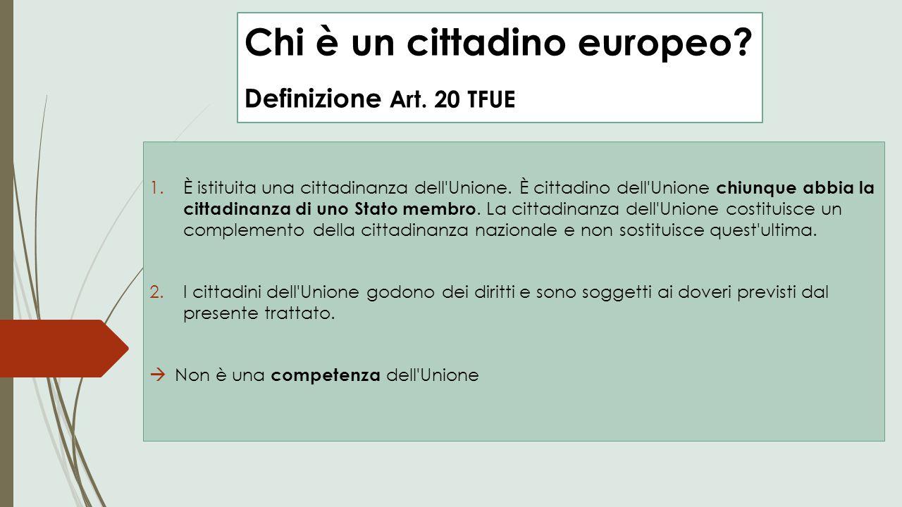 Chi è un cittadino europeo Definizione Art. 20 TFUE