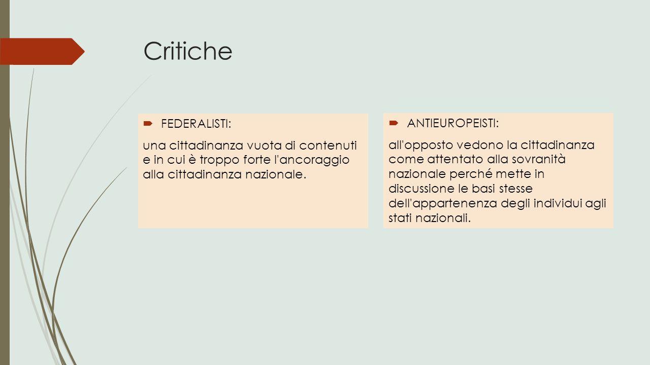 Critiche FEDERALISTI: ANTIEUROPEISTI: