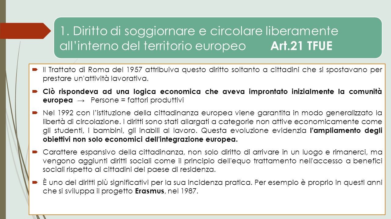 1. Diritto di soggiornare e circolare liberamente all'interno del territorio europeo Art.21 TFUE