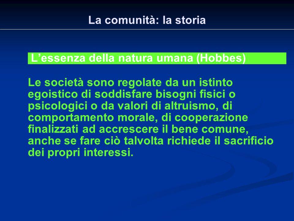 La comunità: la storia L'essenza della natura umana (Hobbes)