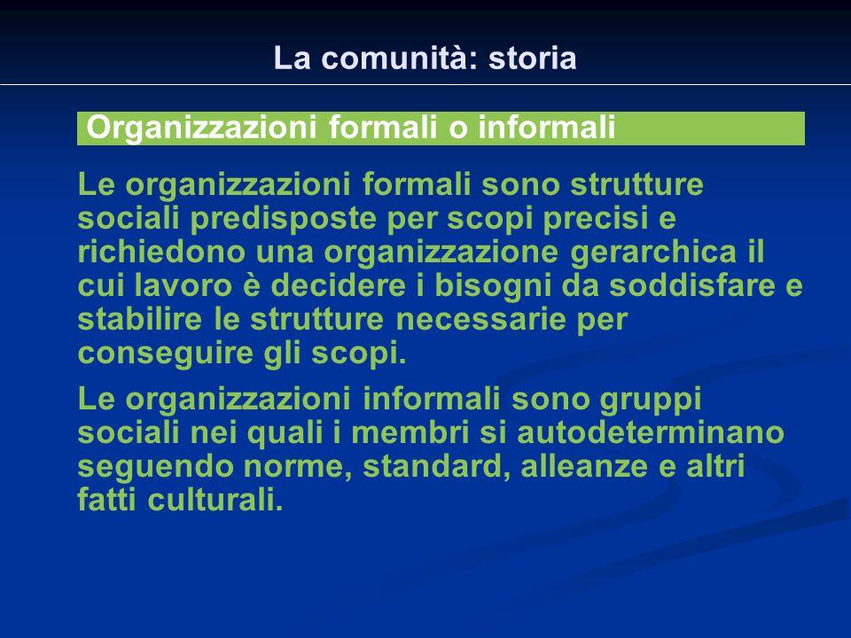 La comunità: storia Organizzazioni formali o informali.