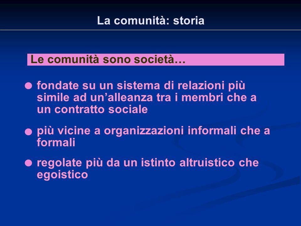 La comunità: storia Le comunità sono società… fondate su un sistema di relazioni più simile ad un'alleanza tra i membri che a un contratto sociale.