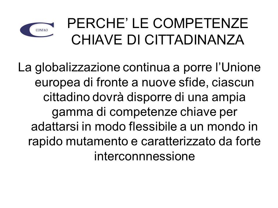 PERCHE' LE COMPETENZE CHIAVE DI CITTADINANZA