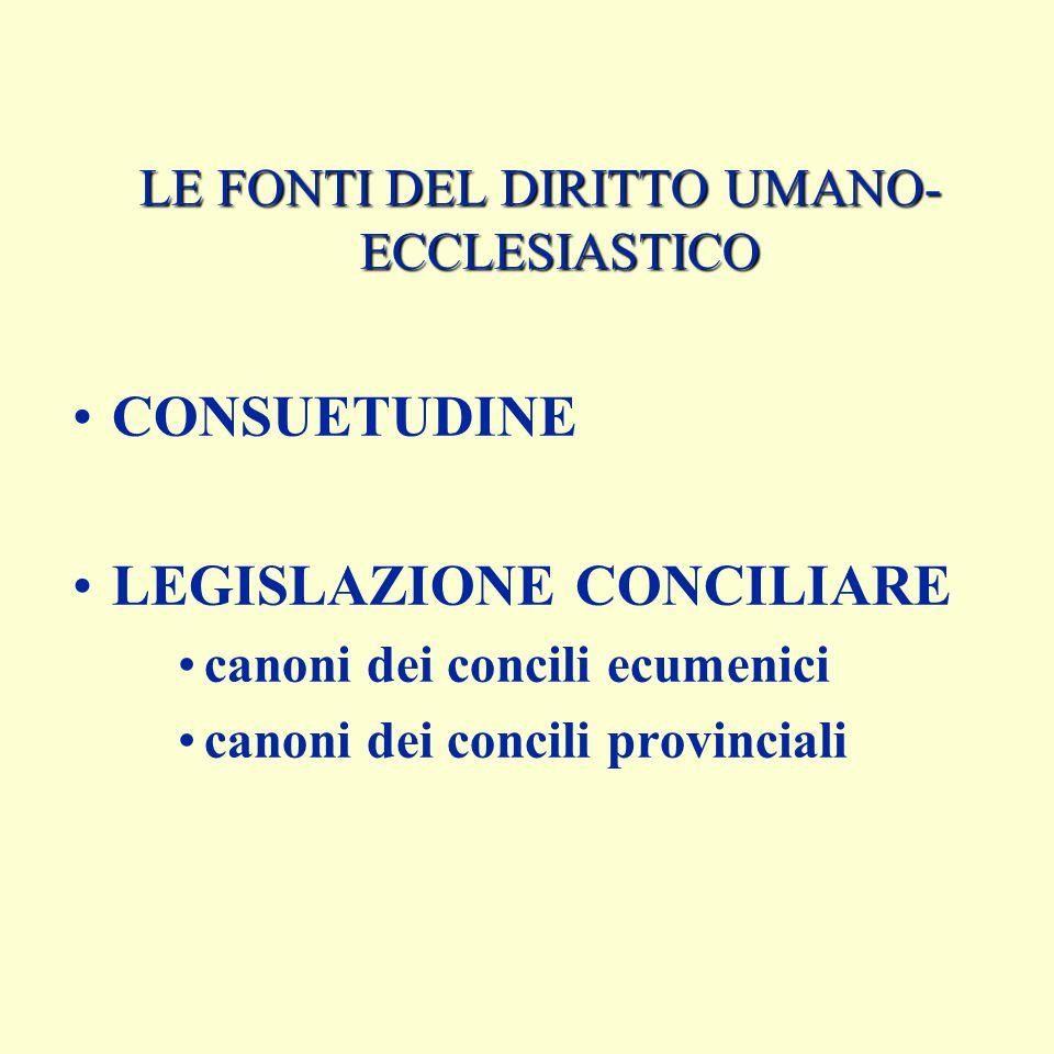 LE FONTI DEL DIRITTO UMANO-ECCLESIASTICO