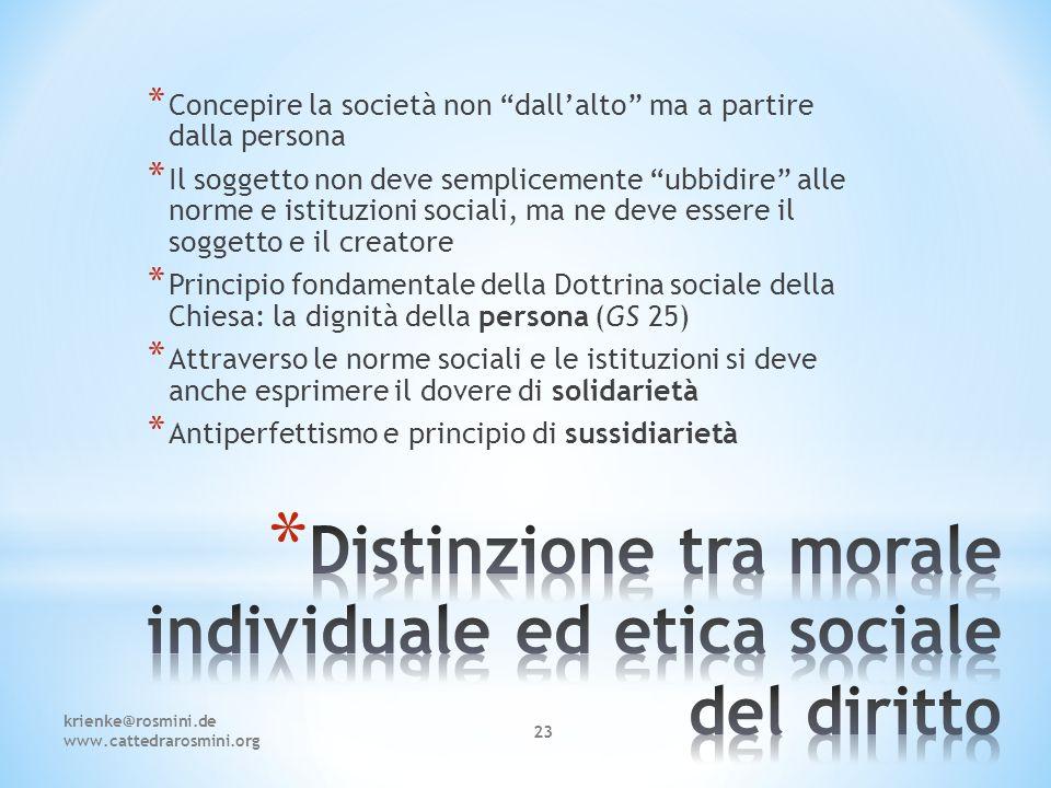 Distinzione tra morale individuale ed etica sociale del diritto