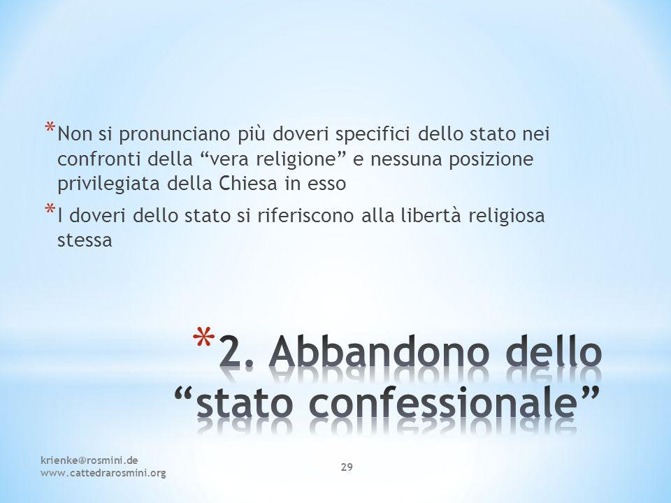 2. Abbandono dello stato confessionale
