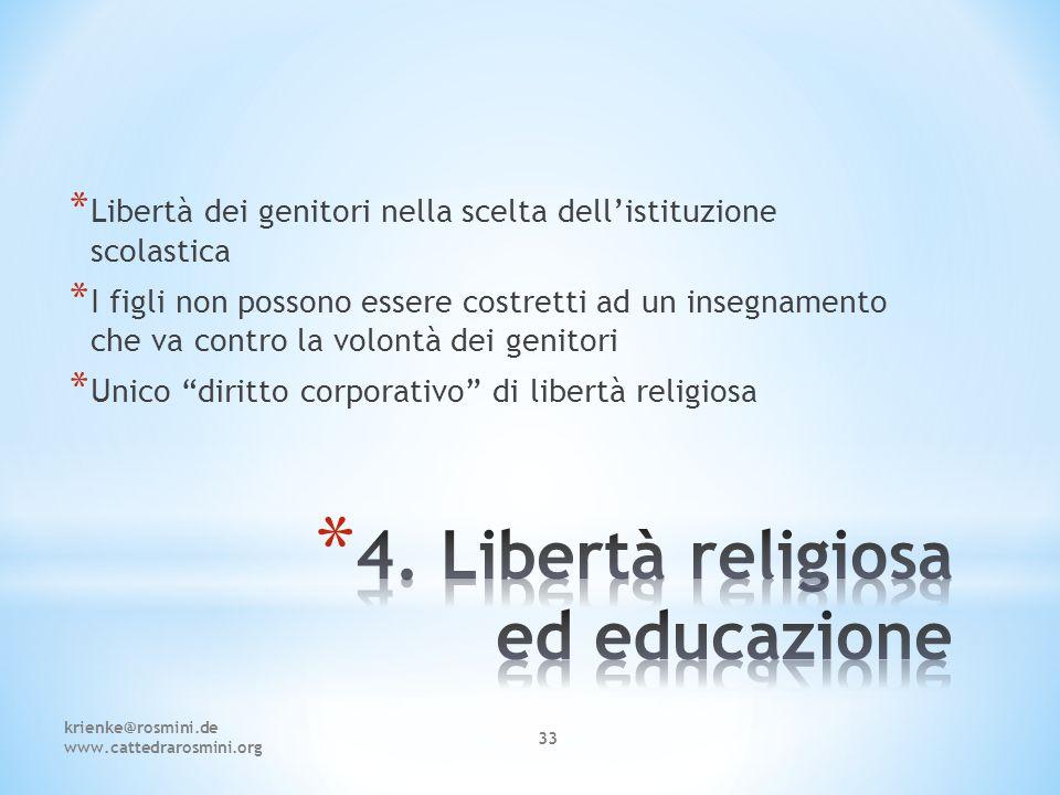 4. Libertà religiosa ed educazione
