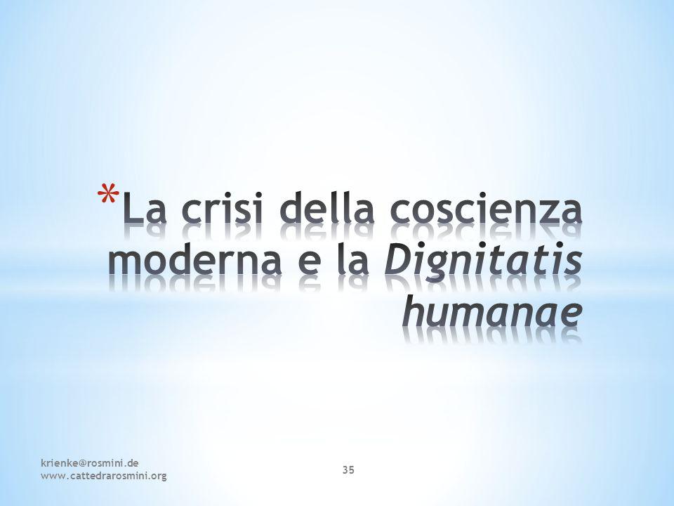 La crisi della coscienza moderna e la Dignitatis humanae