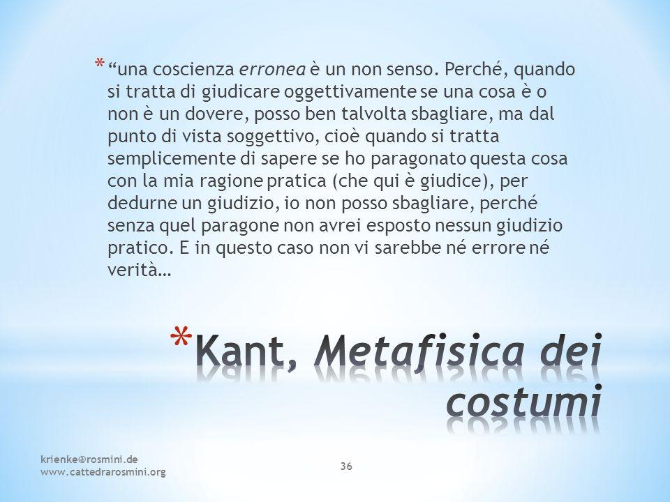 Kant, Metafisica dei costumi