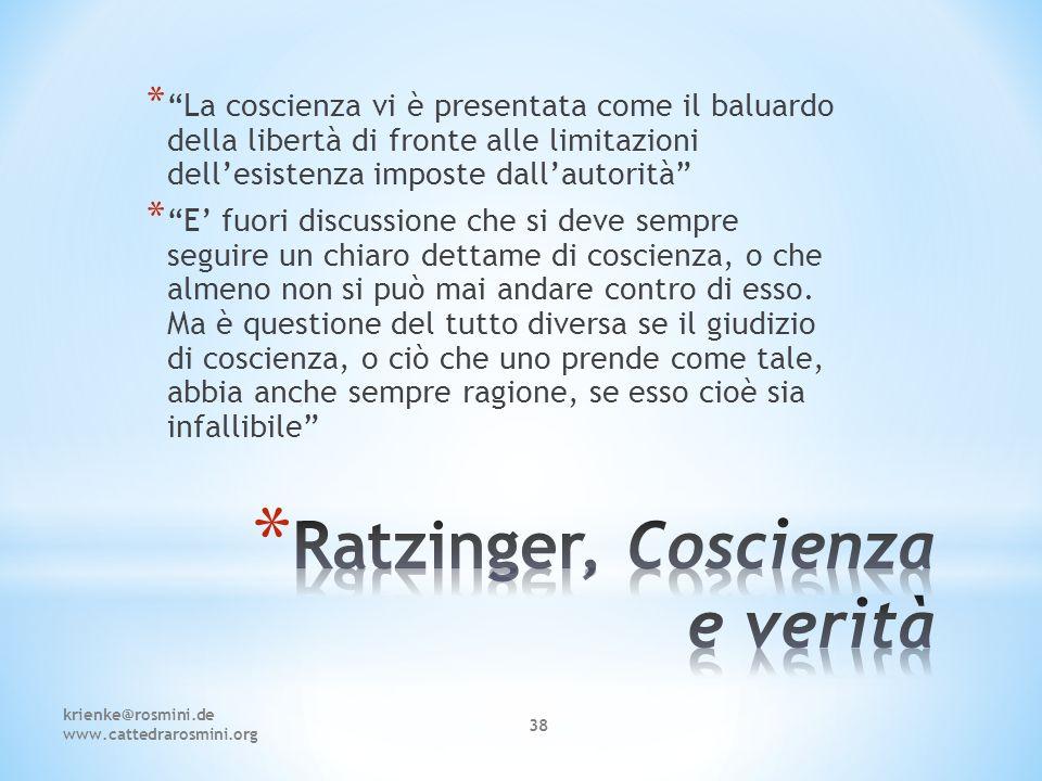 Ratzinger, Coscienza e verità